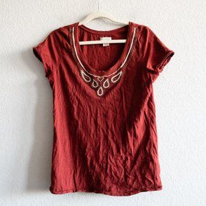 Lucky Brand Beaded Top Short Sleeve Blouse Large